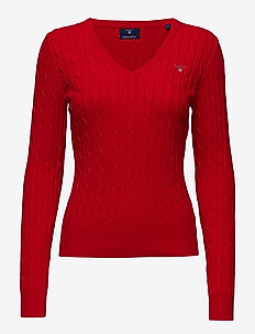 STRETCH COTTON CABLE V-NECK - jumpers - bright red