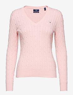 STRETCH COTTON CABLE V-NECK - CALIFORNIA PINK