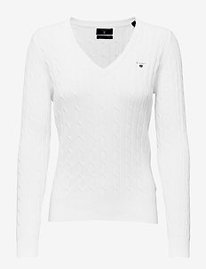 STRETCH COTTON CABLE V-NECK - swetry - eggshell
