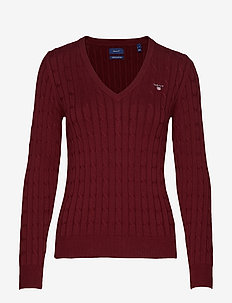 STRETCH COTTON CABLE V-NECK - tröjor - port red