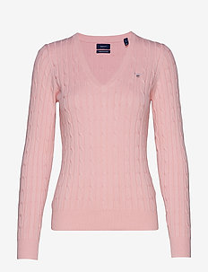 STRETCH COTTON CABLE V-NECK - jumpers - preppy pink