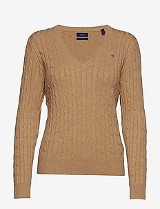 STRETCH COTTON CABLE V-NECK - SAND MELANGE