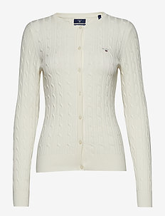 STRETCH COTTON CABLE CREW CARDIGAN - EGGSHELL