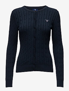 STRETCH COTTON CABLE CREW CARDIGAN - vesten - evening blue