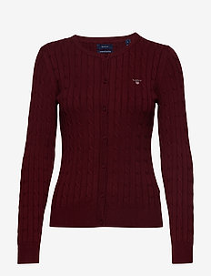 STRETCH COTTON CABLE CREW CARDIGAN - PORT RED
