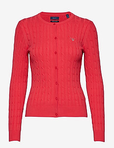 STRETCH COTTON CABLE CREW CARDIGAN - WATERMELON RED