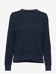COTTON PIQUE C-NECK - jumpers - evening blue