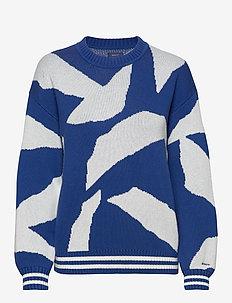 D1. CRESCENT BLOOM INTARSIA CREW - jumpers - crisp blue