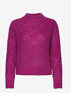 D2. WOOL MOHAIR POINTELLE CREW - jumpers - orchid purple