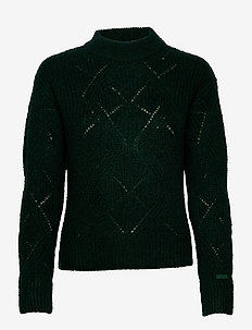 D2. WOOL MOHAIR POINTELLE CREW - jumpers - tartan green