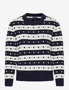 D2. STRIPED FAIRISLE CREW - gensere - evening blue