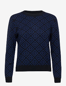 D1. ICON G INTARSIA CREW - jumpers - evening blue