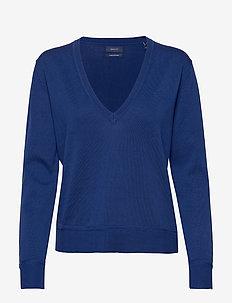 LIGHT COTTON V NECK - tröjor - crisp blue