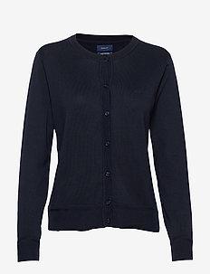 LIGHT COTTON CREW CARDIGAN - cardigans - evening blue