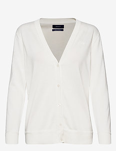 LIGHT COTTON VNECK CARDIGAN - cardigans - eggshell