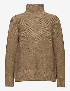 D2. GRAPHIC CABLE TURTLE - turtlenecks - warm khaki