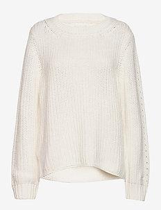 D1. RIBBED COTTON CREW - trøjer - eggshell