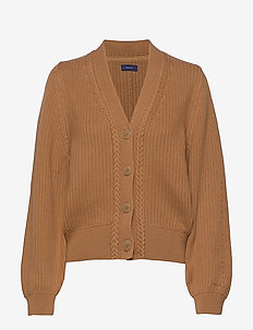 D1. RIBBED V CARDIGAN - swetry rozpinane - clay