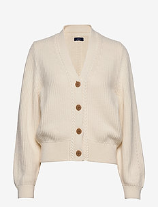 D1. RIBBED V CARDIGAN - koftor - cream