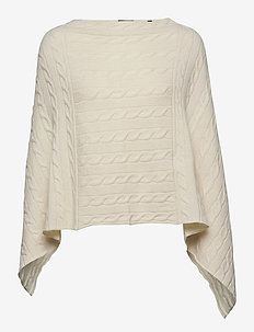 D2. LAMBSWOOL CABLE PONCHO - ponchos et capes - cream