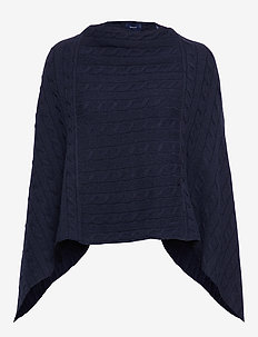 D2. LAMBSWOOL CABLE PONCHO - MARINE