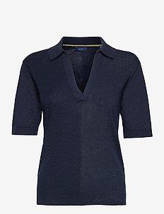 D2. FINE RIBBED RUGGER - strikkede toppe - evening blue