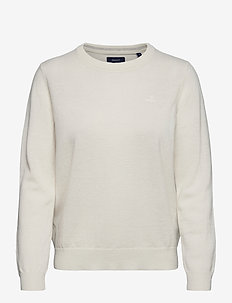 SUPERFINE LAMBSWOOL CREW - jumpers - cream