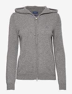 SUPERFINE LAMBSWOOL ZIP HOODIE - hoodies - dark grey melange