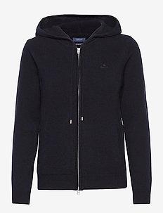 SUPERFINE LAMBSWOOL ZIP HOODIE - hoodies - evening blue