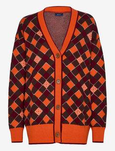 D1. ARGYLE CARDIGAN - cardigans - pumpkin orange