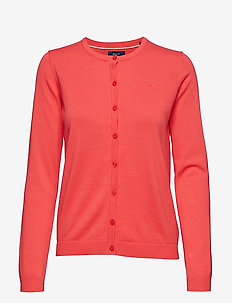 LT WT COTTON CREW CARDIGAN - WATERMELON RED
