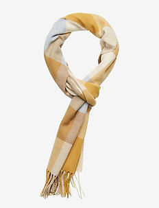 O1. MULTICHECK LAMBSWOOL SCARF - HONEY GOLD