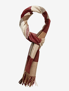 O1. MULTICHECK LAMBSWOOL SCARF - PORT RED
