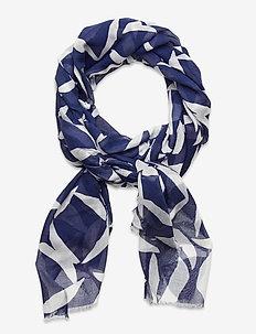 D1. CRESCENT BLOOM SCARF - scarves - crisp blue