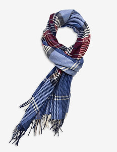 D1. CHECKED SCARF - scarves - pacific blue