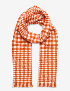D1. HOUNDSTOOTH WOOL SCARF - sjaals - dark orange