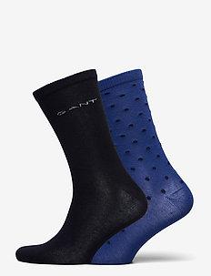 D1. 2-PACK SOLID AND DOT SOCKS - socks - crisp blue