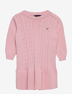 D1. COTTON CABLE DRESS - kleider - preppy pink