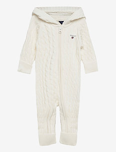 D1. COTTON CABLE ZIP COVERALL - langærmede - eggshell