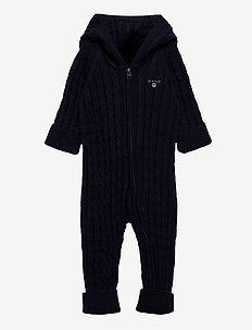 D1. COTTON CABLE ZIP COVERALL - langärmelig - evening blue