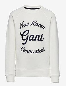 D1. GANT SCRIPT C-NECK SWEAT - sweatshirts - eggshell