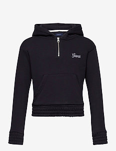 D1. GANT SCRIPT HALF ZIP HOODIE - hoodies - evening blue