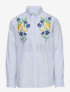 D1. SUMMER EMBROIDERY SHIRT - shirts - capri blue