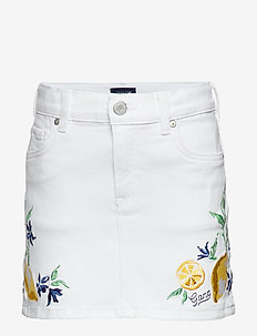 D2. SUMMER EMBROIDERY TWILL SKIRT - skirts - white