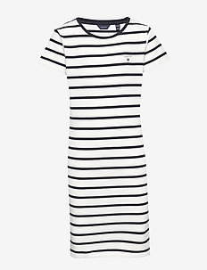 D1. TG BRETON STRIPED JERSEY DRESS - kjoler - eggshell