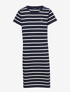 D1. TG BRETON STRIPED JERSEY DRESS - kjoler - evening blue