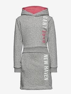 D1. GANT COLOR HOODIE DRESS - kleider - light grey melange