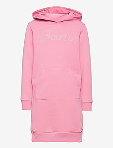 D2. GANT SCRIPT HOODIE DRESS - mekot - sea pink