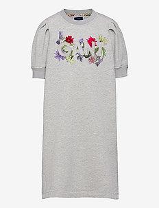 D1. FLOWER LOGO C-NECK SWEAT DRESS - dresses - light grey melange