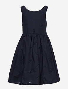D2. BRODERIE ANGLAISE DRESS - kleider - evening blue